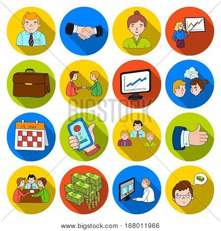 Conference and negetiations set icons in flat design. Big collection of conference and negetiations vector symbol stock illustration