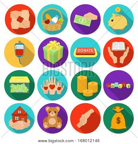 Charity and donation set icons in flat design. Big collection of charity and donation vector symbol stock illustration