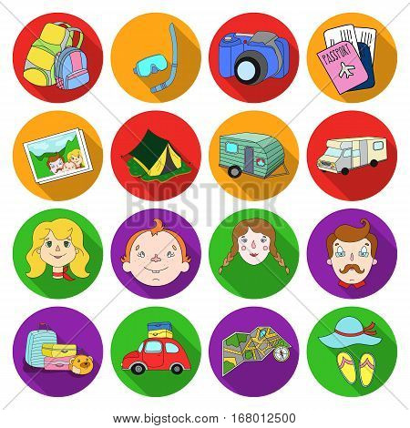 Family holiday set icons in flat design. Big collection of family holiday vector symbol stock illustration