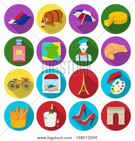 France country set icons in flat design. Big collection of France country vector symbol stock illustration