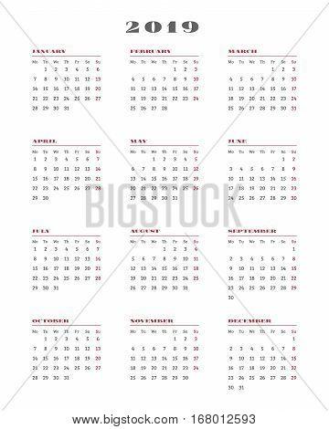 Calendar For 2019 Year. Week Starts Monday. Vector Illustration