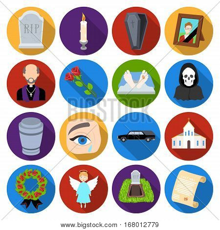 Funeral ceremony set icons in flat design. Big collection of funeral ceremony vector symbol stock illustration