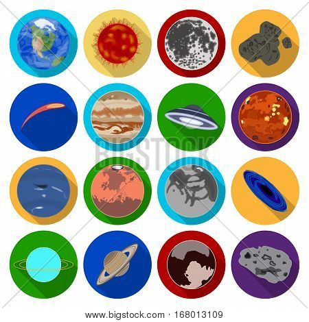 Planets set icons in flat design. Big collection of planets vector symbol stock illustration