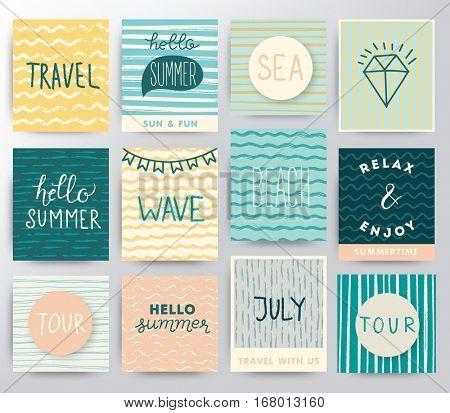 Summer and travel illustration set