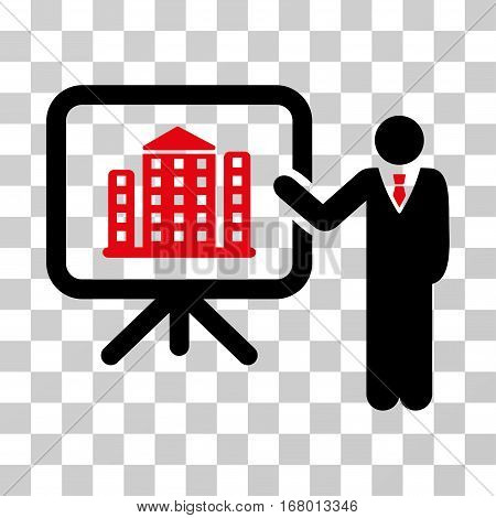 Realty Presention icon. Vector illustration style is flat iconic bicolor symbol, intensive red and black colors, transparent background. Designed for web and software interfaces.