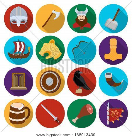 Vikings set icons in flat design. Big collection of vikings vector symbol stock illustration