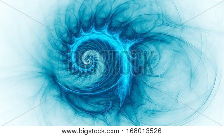 Space snail. Spiral Galaxy. 3D surreal illustration. Sacred geometry. Mysterious psychedelic relaxation pattern. Fractal abstract texture. Digital artwork graphic astrology magic