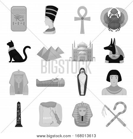 Ancient Egypt set icons in monochrome design. Big collection of ancient Egypt vector symbol stock illustration