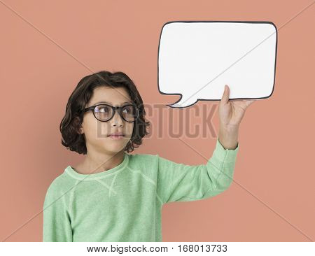 Little Boy Holding Chat box Neutral Mood