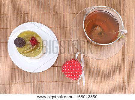 Afternoon English tea with cake on a plate