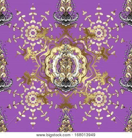 Seamless vintage pattern on dark pink and lilac background with golden elements.
