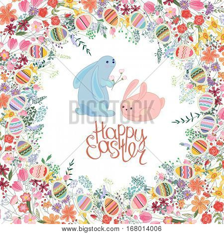Greeting easter card with rabbits, tulips, roses,egg, herbs and phrase Happy Easter. Red and yellow color. White background.
