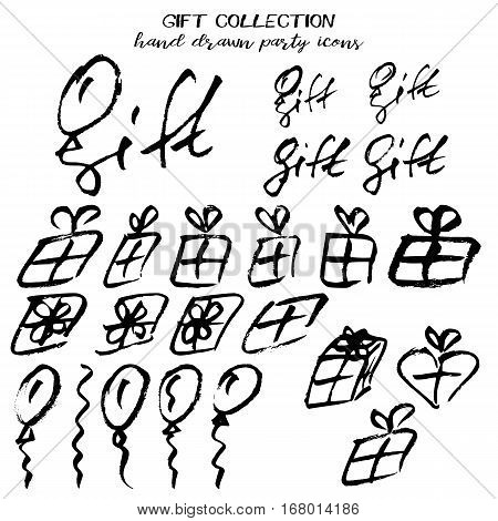 Gift party collection in hand drawn technique and grunge style isolated on white. Vector illustration