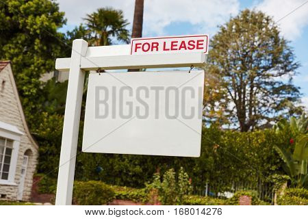 For lease sign on real estate in California, USA