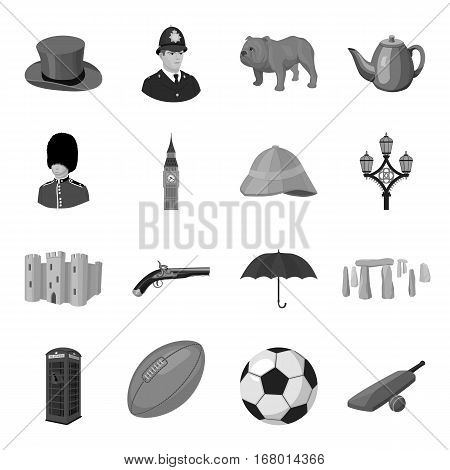 England country set icons in monochrome design. Big collection of England country vector symbol stock illustration