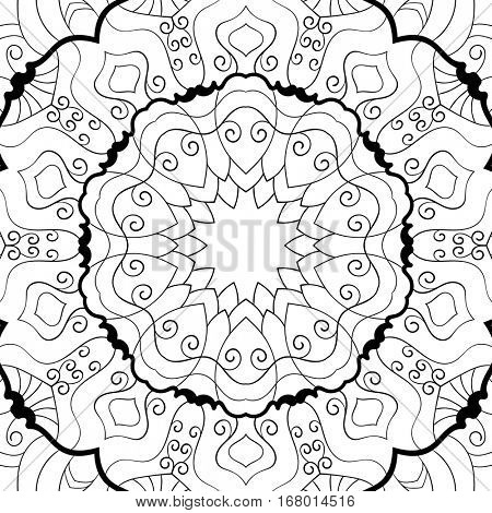 Ornamental background for coloring book, Vector illustration in black and white