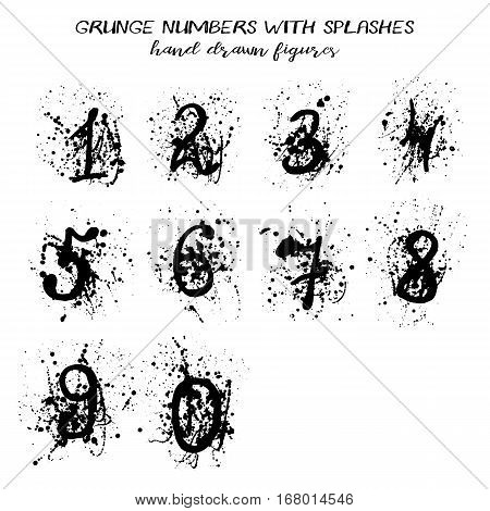Set of arabic numerals with paint splashes in hand drawn technique and grunge style isolated on white. Vector illustration