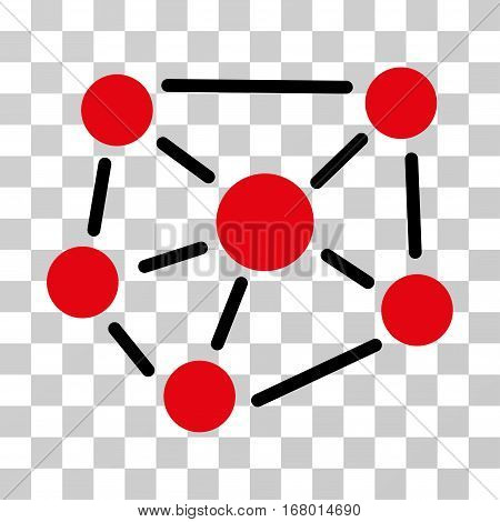 Social Graph icon. Vector illustration style is flat iconic bicolor symbol, intensive red and black colors, transparent background. Designed for web and software interfaces.
