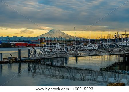 A view of Mount Rainier from a marina in Tacoma Washington. HDR image.