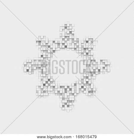 3d rendering of a white sun icon made up of many square uneven blocks. Icons and signs. Weather forecast. Programs and applications.