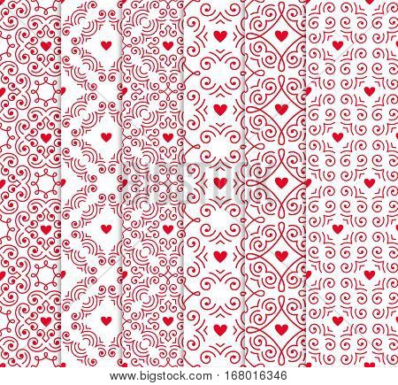 Seamless pattern with hearts. Vector set of ornamental backgrounds for Valentines Day design. EPS10.