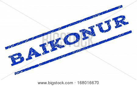 Baikonur watermark stamp. Text tag between parallel lines with grunge design style. Rotated rubber seal stamp with scratched texture. Vector blue ink imprint on a white background.