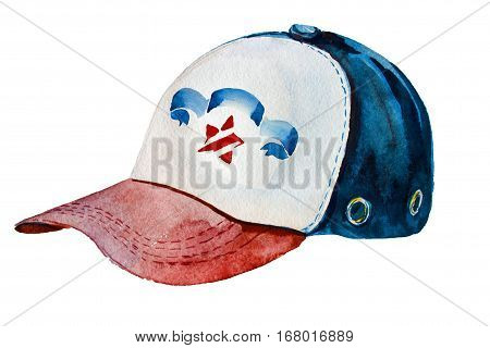 Dark blueblue red cap isolated on white. For print