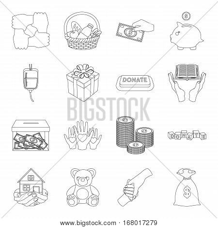 Charity and donation set icons in outline design. Big collection of charity and donation vector symbol stock illustration