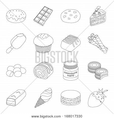 Chocolate desserts set icons in outline design. Big collection of chocolate desserts vector symbol stock illustration