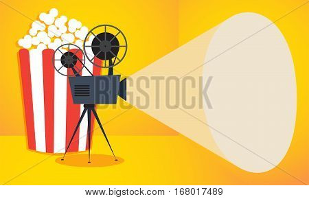 Retro cinema icon with popcorn on yellow background. Vector illustration with copy space