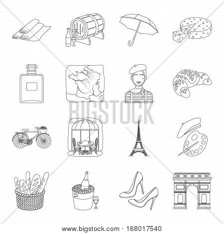 France country set icons in outline design. Big collection of France country vector symbol stock illustration