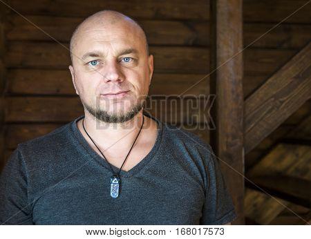 Bald mature man portrait.