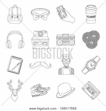 Hipster style set icons in outline design. Big collection of hipster style vector symbol stock illustration