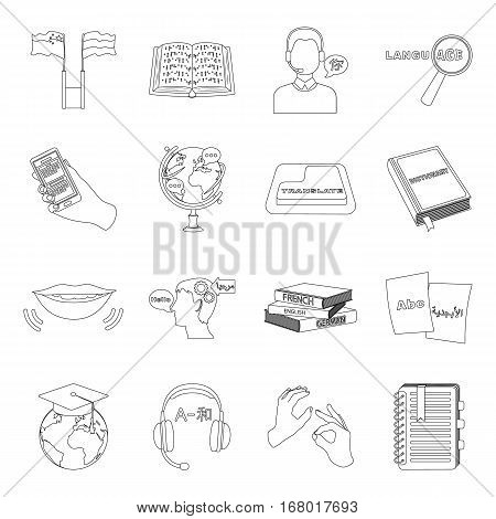 Interpreter and translator set icons in outline design. Big collection of interpreter and translator vector symbol stock illustration