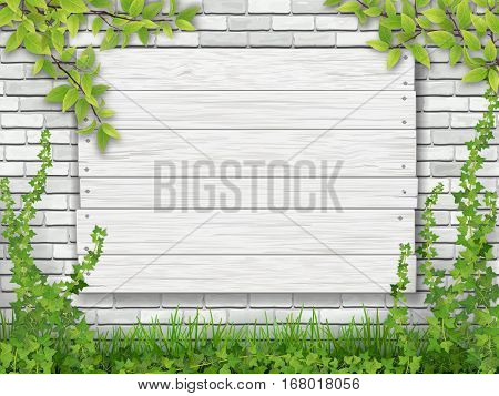 White wooden sign nailed to the brick wall overgrown with ivy. Green grass and tree branches in the foreground.