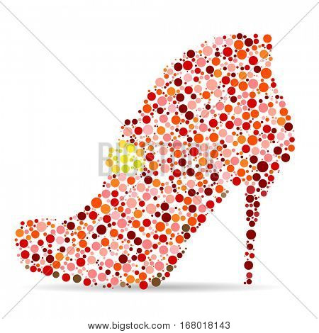 Women's Shoes in the form of a Mosaic on white background. Vector illustration.