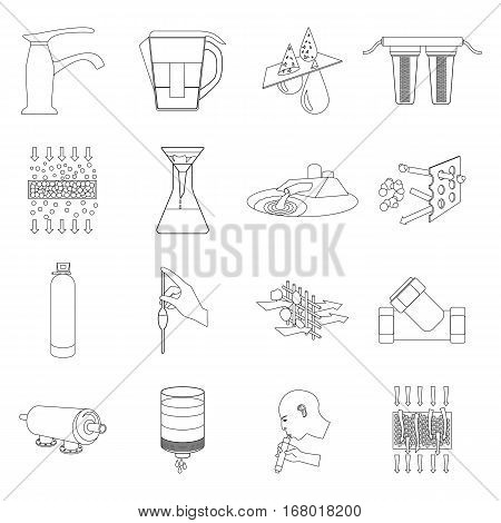 Water filtration system set icons in outline design. Big collection of water filtration system vector symbol stock illustration