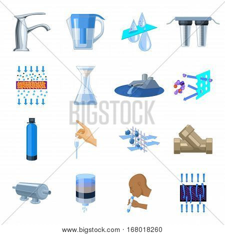 Water filtration system set icons in cartoon design. Big collection of water filtration system vector symbol stock illustration