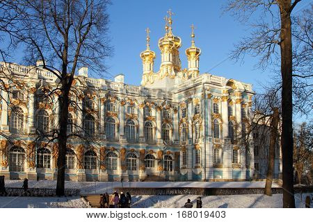 TSARSKOYE SELO (PUSHKIN) RUSSIA - JANUARY 04 2017:Catherine Palace Catherine Park in Tsarskoye Selo (Pushkin) suburb of Saint Petersburg
