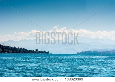 Lake Zurich With Alps