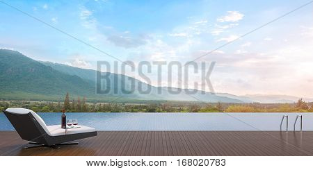 Terrace swimming pool 3D Rendering Image overlooking the surrounding mountains. Has a daybed with a wine tasting.