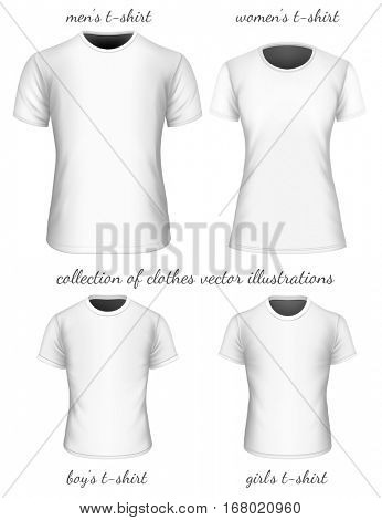 Collection of t-shirt. Fully editable handmade mesh. Vector illustration.