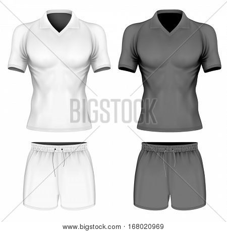 Short-sleeve polo-shirt on the men's sports figure and sport shorts. Black and white variants of sport clothes. Vector illustration. Fully editable handmade mesh.
