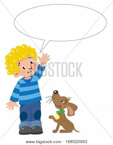 Boy in striped sweater and jeans with balloons and funny dog beside him. Children vector illustration with balloon for text