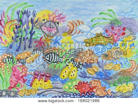 Underwater landscape with coral reef. Abstract acrylic painting.