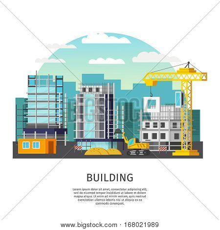 Building work orthogonal design with houses in scaffolding and construction equipment on city background vector illustration