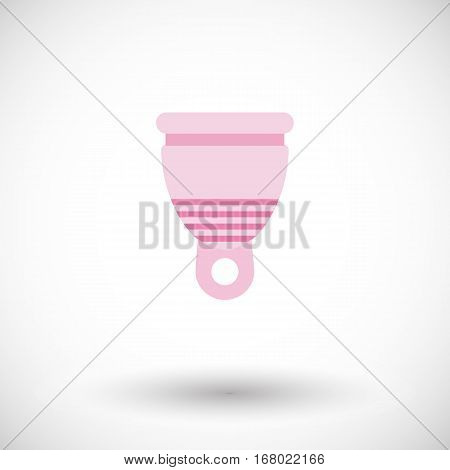 Menstrual cup icon. Flat design of feminine hygiene product with round shadow. Vector illustration