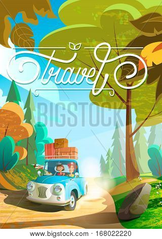 Big happy family traveling by car. Family going to summer vacations. Summer holiday. Tourism and vacation theme. Flat design illustration. Rasterized Copy