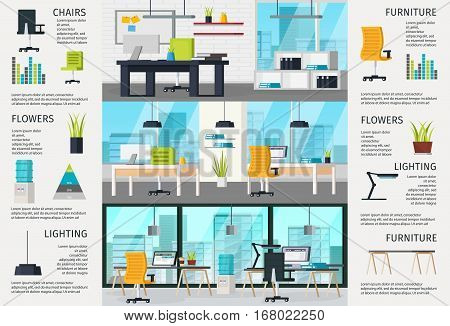 Workplace interior poster with different variants of office architecture and design vector illustration
