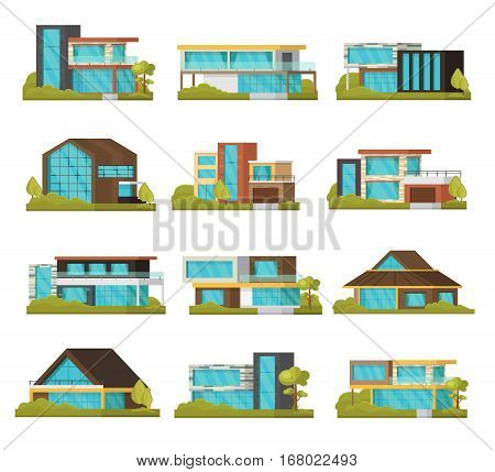 Modern suburban houses collection of different construction and architecture with glass windows isolated vector illustration